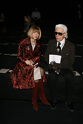 Designer Karl Lagerfeld with Anna Wintour appears during his Fall-Winter 2009-2010 Ready-to-Wear collection show, in Paris, France on March 8, 2009. Photo by Denis Guignebourg/ABACAPRESS.COM
