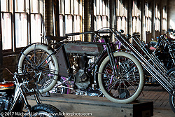 Chris Tribbey's 1911 Excelsior model K from Milwaukee at the setup day for the Mama Tried Bike Show. Milwaukee, WI, USA. Friday, February 17, 2017. Photography ©2017 Michael Lichter.