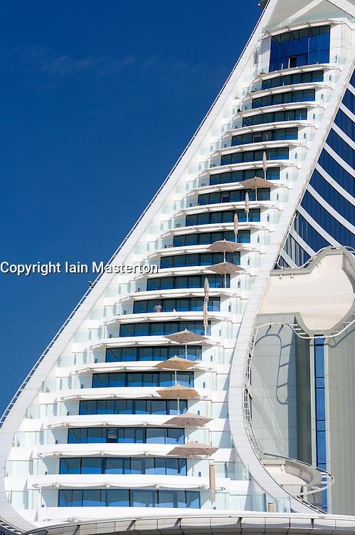 Detail of balconies in Jumeirah Beach Hotel in Dubai in United Arab Emirates