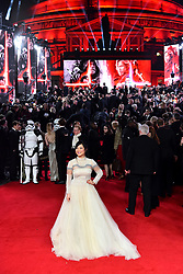 Kelly Marie Tran attending the european premiere of Star Wars: The Last Jedi held at The Royal Albert Hall, London.