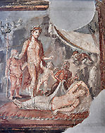 Detail of the Roman fresco wall painting of a Dionysus accompanied by Silenius and two cupids finds Ariadne in a deep sleep, he takes her to Olympus and marries her so giving her immortality ,Pompeii House of the Tragic Poet, inv 9271, Naples National Archaeological Museum, .<br /> <br /> If you prefer to buy from our ALAMY PHOTO LIBRARY  Collection visit : https://www.alamy.com/portfolio/paul-williams-funkystock - Scroll down and type - Roman Fresco Naples  - into LOWER search box. {TIP - Refine search by adding a background colour as well}.<br /> <br /> Visit our ROMAN ART & HISTORIC SITES PHOTO COLLECTIONS for more photos to download or buy as wall art prints https://funkystock.photoshelter.com/gallery-collection/The-Romans-Art-Artefacts-Antiquities-Historic-Sites-Pictures-Images/C0000r2uLJJo9_s0