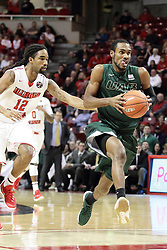 05 December 2015: Robert Brown eyes the hoop from 15 feet with Tony Wills(12) just behind. Illinois State Redbirds host the University of Alabama - Birmingham Blazers at Redbird Arena in Normal Illinois (Photo by Alan Look)