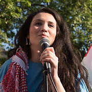 Malia Bouattia President of the National Union of Students addresses the protests of the massacre of Palestinian protestor in Gaza by the Israelis army on the day US moving its embassy to Jerusalem outside Downing Street on 15 May 2018, London, UK.