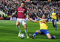 Football - 2018 / 2019 Premier League - West Ham United vs. Southampton<br /> <br /> Ryan Fredericks of West ham is challenged by Jack Stephens, at The London Stadium.<br /> <br /> COLORSPORT/ANDREW COWIE