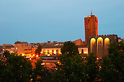 The black basalt lava stone cathedral. The La Galeote hotel. Agde town. Languedoc. France. Europe. St Etienne cathedral from the 12 century.