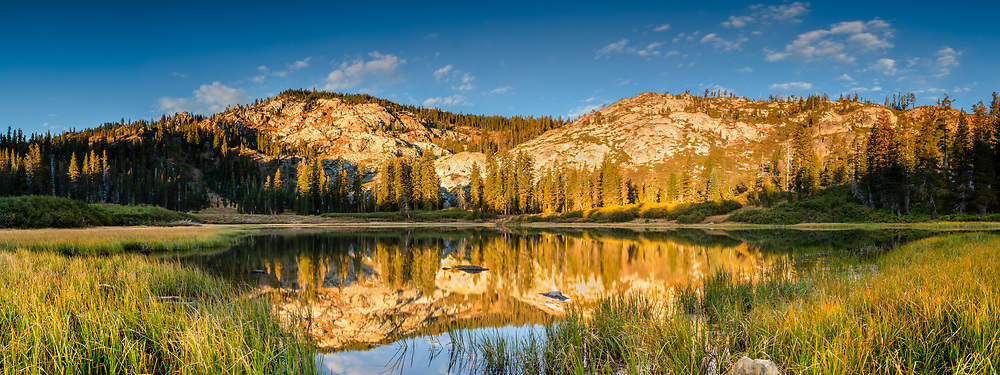 """""""Mud Lake Morning 2"""" - Panoramic photograph shot in the early morning of Mud Lake in California's Plumas National Forest."""