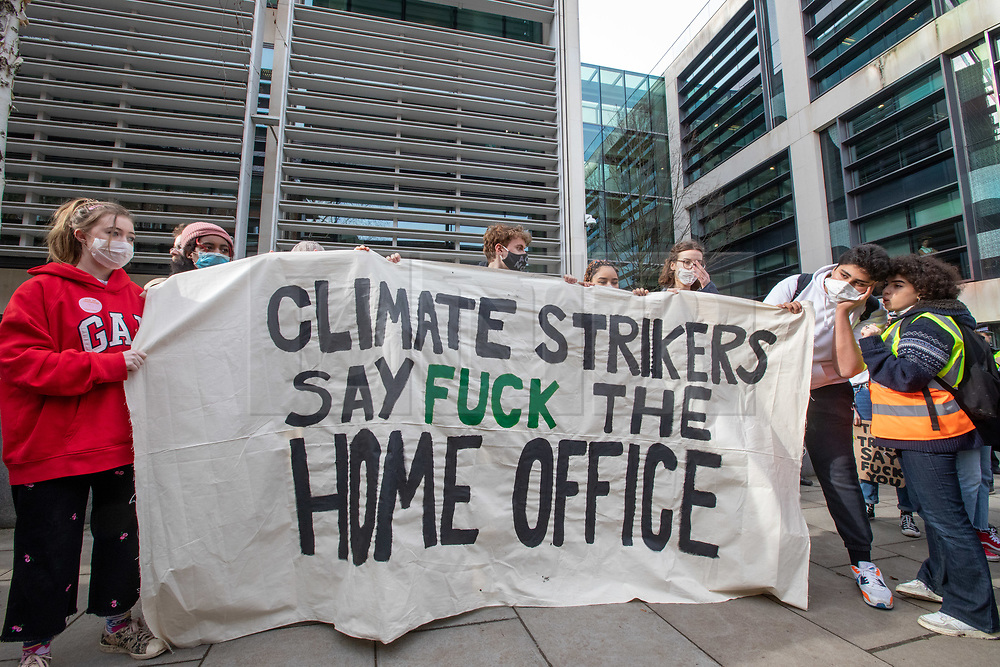 © Licensed to London News Pictures. 14/02/2020. London, UK. Students outside the Home Office. Students climate change strikers demonstrate on the streets of Westminster to protest against the Governments's lack of action on the climate crisis. Photo credit: Alex Lentati/LNP
