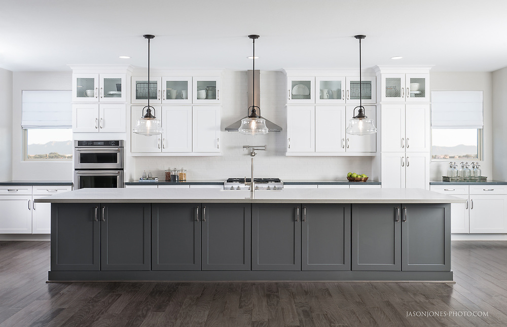 Contemporary residential kitchen with island