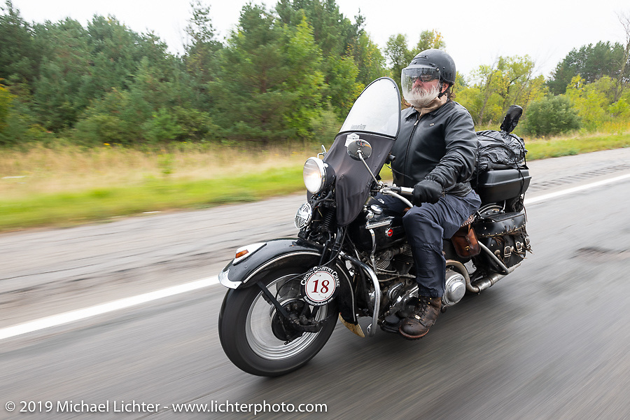 Willie Earhart riding his 1948 Harley-Davidson Panhead in the Cross Country Chase motorcycle endurance run from Sault Sainte Marie, MI to Key West, FL. (for vintage bikes from 1930-1948). Stage 1 from Sault Sainte Marie to Ludington, MI USA. Friday, September 6, 2019. Photography ©2019 Michael Lichter.