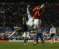 Photo: Paul Thomas.<br /> England v Spain. International Friendly. 07/02/2007.<br /> <br /> Peter Crouch (L) of England tries a round house shot at goal in injury time, but with no luck.