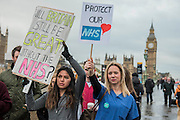 Dr Melissa Baldwin (blue scrubs) and Dr Anjani Knobel - The picket line at St Thomas' Hospital. The second official junior doctors strike started at 8 AM this morning against proposals by the government.