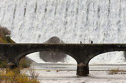 © Licensed to London News Pictures. 07/11/2019. Rhayader, Powys, Wales, UK. Water cascades over the Caban Coch Dam in Elan Valley, near Rhayader in Powys, UK. Recent heavy rainfall has replenished water levels in the Elan Valley reservoir complex. Photo credit: Graham M. Lawrence/LNP