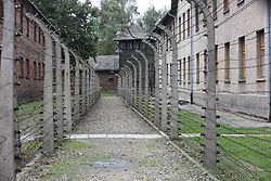 Barracks surrounded by barbed wire fences at the Auschwitz-Birkenau Nazi concentration camps in Auschwitz, Poland on September 3, 2017. Auschwitz concentration camp was a network of German Nazi concentration camps and extermination camps built and operated by the Third Reich in Polish areas annexed by Nazi Germany during WWII. It consisted of Auschwitz I (the original camp), Auschwitz II–Birkenau (a combination concentration/extermination camp), Auschwitz II–Monowitz (a labor camp to staff an IG Farben factory), and 45 satellite camps. In September 1941, Auschwitz II–Birkenau went on to become a major site of the Nazi Final Solution to the Jewish Question. From early 1942 until late 1944, transport trains delivered Jews to the camp's gas chambers from all over German-occupied Europe, where they were killed en masse with the pesticide Zyklon B. An estimated 1.3 million people were sent to the camp, of whom at least 1.1million died. Around 90 percent of those killed were Jewish; approximately 1 in 6 Jews killed in the Holocaust died at the camp. Others deported to Auschwitz included 150,000 Poles, 23,000 Romani and Sinti, 15,000 Soviet prisoners of war, 400 Jehovah's Witnesses, and tens of thousands of others of diverse nationalities, including an unknown number of homosexuals. Many of those not killed in the gas chambers died of starvation, forced labor, infectious diseases, individual executions, and medical experiments. In 1947, Poland founded a museum on the site of Auschwitz I and II, and in 1979, it was named a UNESCO World Heritage Site. Photo by Somer/ABACAPRESS.COM