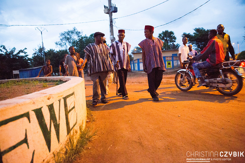 King Cephas Bansah, his brother Hon. Fredolin Kwasi Bansah and Ewefiaga Togbui Agboli K.F.Agokoli IV (King of the Ewe) walk through the streets in Notse to visit the Ewe Monument (funded by King Bansah and his sponsors) which symbolizes the spreading of the Ewe people throughout the nearby countries.<br /> <br /> Day 1 of the Agbogboza Festival in Notse, Togo on September 1st, 2016<br /> <br /> ***Togbe Ngoryifia Cephas Kosi Bansah of Gbi Traditional Area Hohoe Ghana and Traditional, Spiritual and Honorable King of the Ewes and his wife, Queen Mother Gabriele Akosua Bansah Ahado Hohoe Ghana***
