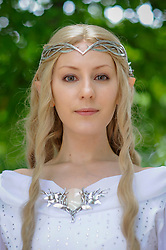 © Licensed to London News Pictures. 28/05/2017. London, UK. A girl dressed as Galadriel from Lord of the Rings at MCM Comic Con taking place at Excel in East London.  The three day event celebrates popular comic books, anime, games, television and movies.  Many attendees take the opportunity to dress as their favourite characters.    Photo credit : Stephen Chung/LNP