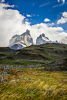 The Cuernos del Paine (Hornes of Paine) rise from the landscape in Torres del Paine National Park, Chile.