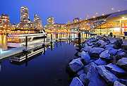 Blue Hour on Vancouver Skyline and marina from Granville Island, British Columbia, Canada