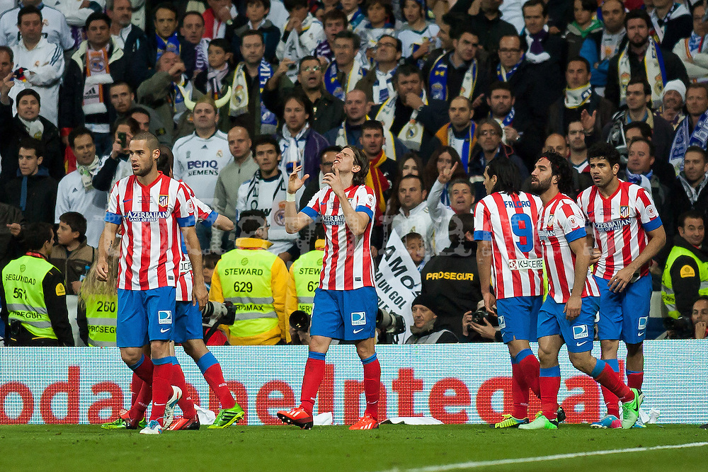 Atletico de Madrid celebrates second goal, that gives victory in a Spainsh Cup 2013