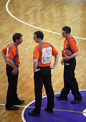 Referees at 7th round of Slovenian basketball Championship at UPC Telemach league between Helios Domzale vs Union Olimpija, on April 16, 2008, in Sports Arena in Domzale. Olimpija won the match 93:76. (Photo by Vid Ponikvar / Sportal Images)
