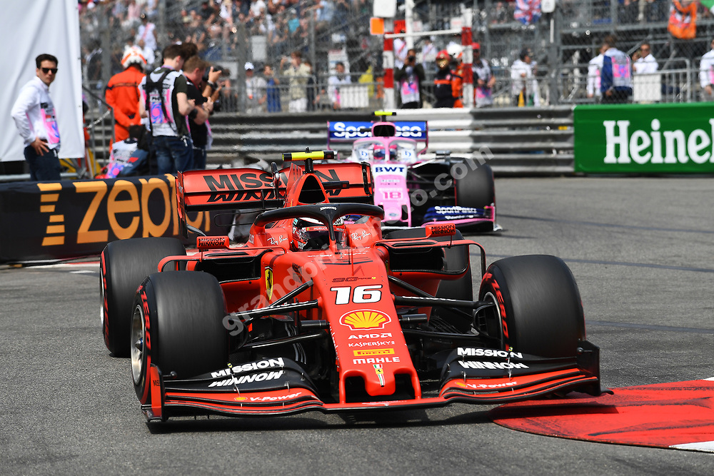 Charles Leclerc (Ferrari) in front of Lance Stroll (Racing Point-Mercedes) during qualifying before the 2019 Monaco Grand Prix. Photo: Grand Prix Photo