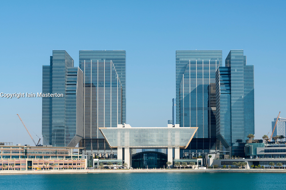 View of new business district at Abu Dhabi Global Market square (ADGM) formerly Sowwah Square on Al Maryah Island in Abu Dhabi United Arab Emirates