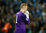 02.10.2013 Manchester, England.  Man City keper Joe Hart trudges off at FT during the Group D UEFA Champions League game between, Manchester City and Bayern Munich from the Etihad Stadium.