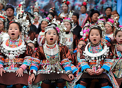 Little girls of Dong ethnic group sing local songs during a parade celebrating a traditional festival, which falls on the second day of the second month in the Chinese lunar calendar, in Meilin Township under Dong Autonomous County of Sanjiang, south China's Guangxi Zhuang Autonomous Region, March 10, 2016. EXPA Pictures © 2016, PhotoCredit: EXPA/ Photoshot/ Huang Xiaobang<br /> <br /> *****ATTENTION - for AUT, SLO, CRO, SRB, BIH, MAZ, SUI only*****
