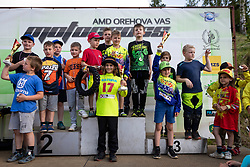 Competitors and winners of MX50 during Slovenian Championship in Motocross, on June 2nd, 2019 in Orehova Vas, Slovenia. Photo by Blaž Weindorfer / Sportida
