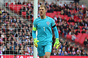 Joe Hart of England shouting during the FIFA World Cup Qualifier group stage match between England and Lithuania at Wembley Stadium, London, England on 26 March 2017. Photo by Matthew Redman.