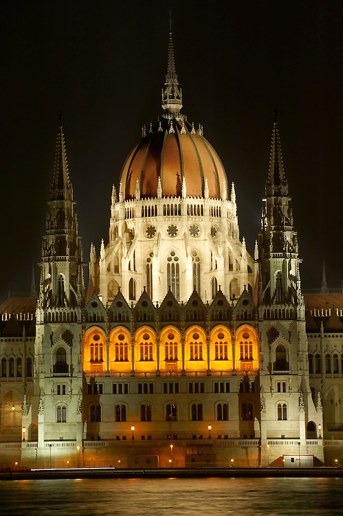 Hungarian Parliment building at night - Budapest - Hungary .<br /> <br /> Visit our HUNGARY HISTORIC PLACES PHOTO COLLECTIONS for more photos to download or buy as wall art prints https://funkystock.photoshelter.com/gallery-collection/Pictures-Images-of-Hungary-Photos-of-Hungarian-Historic-Landmark-Sites/C0000Te8AnPgxjRg