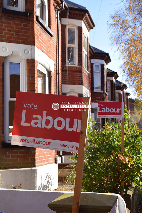 Vote Labour signs, Norwich UK November 2019