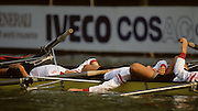 Bled, Slovenia, YUGOSLAVIA.  Exhausted Swiss, athletes at the 1989 World Rowing Championships, Lake Bled. [Mandatory Credit. Peter Spurrier/Intersport Images]