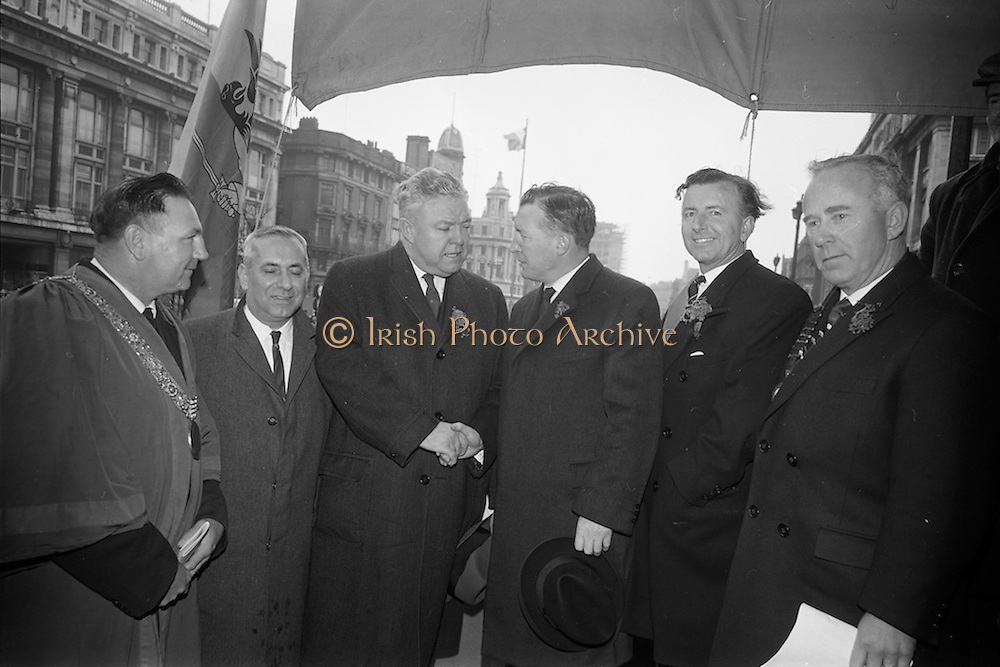 17/03/1964<br /> 03/17/1964<br /> 17 March 1964<br /> St. Patrick's Day Parade, Dublin.  Lord Mayor Sean Moore on left and Mr Charles Haughey, Minister for Justice 3rd from left.