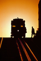 Passengers boarding the California Street cable car on Nob Hill, San Francisco, California