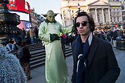 Floating Yoda street performer in Piccadilly Circus in London, England, United Kingdom. (photo by Mike Kemp/In Pictures via Getty Images)