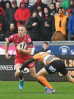 Rugby Union - 2019 / 2020 Guinness Pro14 - Scarlets vs. Cheetahs<br /> <br /> Johnny McNicholl of Llanelli Scarlets  attacks, at Parc y Scarlets.<br /> <br /> COLORSPORT/WINSTON BYNORTH