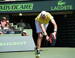 April 1, 2018 - Key Biscayne, FL, U.S. - KEY BISCAYNE, FL - APRIL 01: John Isner (USA) defeats Alexander Zverev (GER) 67(4) 64 64 in the Mens Final at the Miami Open held at the Crandon Park Tennis Center on April 1, 2018 in Key Biscayne, Florida. (Photo by Michele Sandberg/Icon Sportswire) (Credit Image: © Michele Sandberg/Icon SMI via ZUMA Press)
