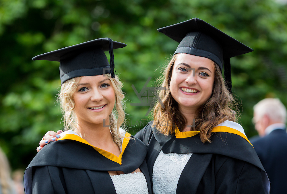 """23.08.2016        <br /> Over 300 students graduated from the Faculty of Arts, Humanities and Social Science at the University of Limerick today. <br /> <br /> Attending the conferring ceremony were Bachelor of Arts in Languages, Literature and Film graduates, Niamh Finery, Birr Co. Offaly and Roisin Halliday, Sixmilebridge Co. Clare. Picture: Alan Place.<br /> <br /> <br /> <br /> <br /> UL Graduates Employability remains consistently high as they are 14% more likely to be employed after Graduation than any other Irish University Graduate<br /> Each year, the Careers Service collects information about the 'First Destinations' of UL graduates. During the April/May period following graduation, we survey those who have completed full-time undergraduate and postgraduate courses for details on their current status. This current survey was conducted nine months after graduation and focuses on the employment and further study patterns of the graduates of 2015. A total of 2,933 graduates were surveyed and a response rate of 87% was achieved. <br /> As the University of Limerick commences four days of conferring ceremonies which will see 2568 students graduate, including 50 PhD graduates, UL President, Professor Don Barry highlighted the continued demand for UL graduates by employers; """"Traditionally UL's Graduate Employment figures trend well above the national average. Despite the challenging environment, UL's graduate employment rate for 2015 primary degree-holders is now 14% higher than the HEA's most recently-available national average figure which is 58% for 2014"""". The survey of UL's 2015 graduates showed that 92% are either employed or pursuing further study."""" Picture: Alan Place"""