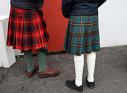 Fans of Scotland in kilts before the Guinness Six Nations match at Twickenham Stadium, London.