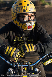 "Custom bike builder Toshiyuki ""Cheetah"" Osawa at Brat Style's flat track racing at West Point Offroad Village. Kawagoe, Saitama. Japan. Wednesday December 6, 2017. Photography ©2017 Michael Lichter."