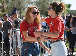 Marjory Stoneman Douglas High School students, staff, parents, friends and community leaders gather for a moment of silence in Parkland, FL, USA, on Thursday, February 15, 2018, in the wake of a shooting that left 17 dead a day earlier. Photo by Taimy Alvarez/Sun Sentinel/TNS/ABACAPRESS.COM