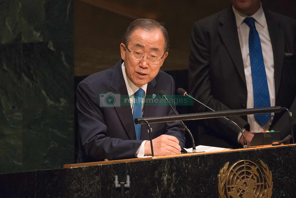 September 16, 2016 - New York, NY, United States - UN Secretary-General Ban Ki-moon offers his remarks to the Assembly. Three days before the opening of the United Nations high-level Summit on Addressing Large Movements of Migrants and Refugees (September 19), Actor Ben Stiller and former refugee celebrities presented a petition from the #WithRefugees campaign to the UN.  On behalf of the UN, Secretary-General Ban Ki-moon and UN High Commissioner for Refugees Filippo Grandi participated in the event. (Credit Image: © Albin Lohr-Jones/Pacific Press via ZUMA Wire)