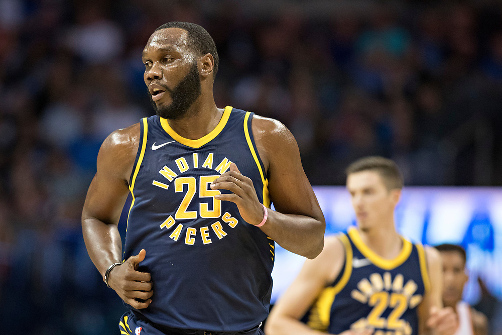 OKLAHOMA CITY, OK - OCTOBER 25:  Al Jefferson #25 of the Indiana Pacers jogs down the court during a game against the Oklahoma City Thunder at the Chesapeake Energy Arena on October 25, 2017 in Oklahoma City, Oklahoma.  NOTE TO USER: User expressly acknowledges and agrees that, by downloading and or using this photograph, User is consenting to the terms and conditions of the Getty Images License Agreement.  The Thunder defeated the Pacers 114-96.  (Photo by Wesley Hitt/Getty Images) *** Local Caption *** Al Jefferson