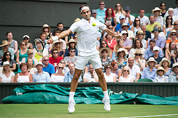 © Licensed to London News Pictures. 04/07/2018. London, UK. Roger Federer plays Lukas Lacko of Slovakiain the mens 2nd round singles draw of the Wimbledon Tennis Championships 2018, Day 3. Photo credit: Ray Tang/LNP