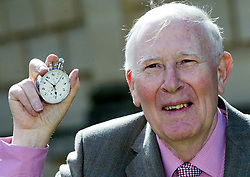 File photo dated 06-05-2004 of Sir Roger Bannister holds the stop-watch that recorded his sporting feat on the 50th anniversary of the first sub-four-minute mile, at Pembroke College, Oxford.