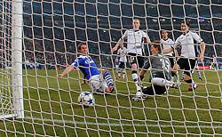 09.03.2011, Veltins Arena, Gelsenkirchen, GER, UEFA CL Achtelfinale FC Schalke 04 (GER) vs Valencia CF (ESP), im Bild das 2:1 Führungstor von Mario Gavranovic (Schalke - SUI #19), links im Bild, rechts ist Vicente Guaita (Torwart / Keeper Valencia CF #1), aufgenommen mit Hintertorkamera, EXPA Pictures © 2011, PhotoCredit: EXPA/ nph/  Scholz       ****** out of GER / SWE / CRO  / BEL ******