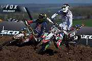 Kiwi Dylan Walsh was very quick and aggressive on the perfectly prepared Matterley Basin track. Here he is sparring with eventual double moto winner, Thomas Kjer Olsen.