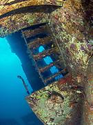 The ladder on USCGC Spar Shipwreck<br /> in North Carolina, USA