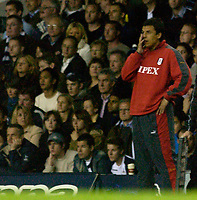 Photo: Daniel Hambury.<br />Tottenham Hotspur v Fulham. The Barclays Premiership.<br />26/09/2005.<br />Fulham's manager Chris Coleman cant bear to look.