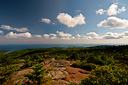 SUBJECT: Southern View from Cadillac Mountain. IMAGE: A  southerly view from Acadia National Park sweeping from Otter Cove in the east to Swans Island on the western horizon. Hardly a tourist in sight.